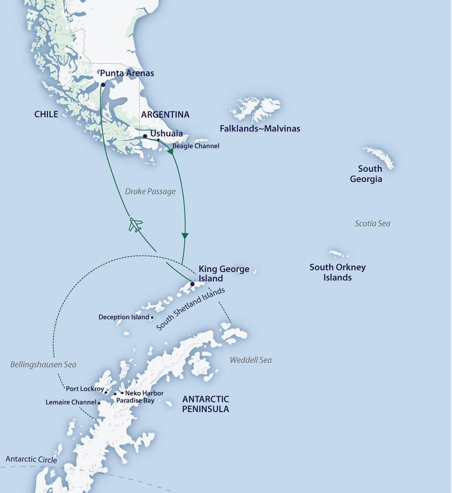 Greg Mortimer: Across the Antarctic Circle (ending in Punta ...